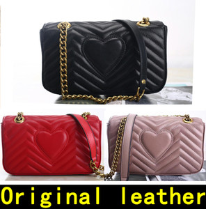Marmont sac à bandoulière 443497 sacs à main de haute qualité à main souple en cuir véritable des femmes en cuir Sacs à bandoulière viennent avec la boîte