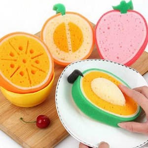 Cute Fruit Shape Spugna in microfibra Spugna per pulire il panno Spugna ispessita Forte Rimuovere le macchie Gadget da cucina
