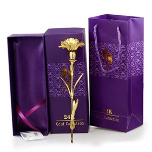 Fleurs Artificielles Plaqué Or Non Fading réaliste Carnation Bonheur Simulation Faux Fleur Pour Cadeau Fête des Mères Pack 6dq ZZ