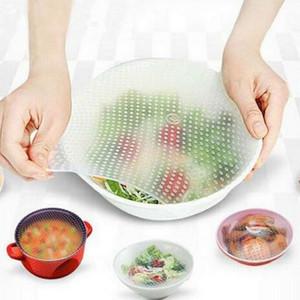 Cubiertas de tazones reutilizables Tapas de silicona para alimentos Elásticos Mantener los alimentos frescos Herramienta de la cocina Envolturas de almacenamiento de alimentos Cubre 4 pcs