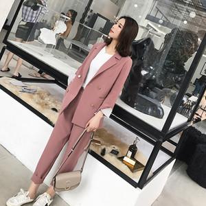 Manches rayé à double boutonnage Costumes tailleurs pantalon entaillé Blazer taille crayon Pantalon Solide Style Femme Ensemble 2 pièces 2018