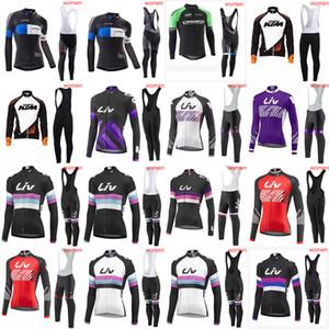 2020 LIV KTM ORBEA 여성 프로 팀 로파 Ciclismo 사이클링 긴 소매 저지 MTB 자전거 빠른 건조 스포츠웨어 자전거 턱받이 바지 C629-66 설정