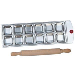 Vente en gros- Plateau de moulage en ravioli carré 12 carrés avec un rouleau à pâtisserie en bois Pasta Cutter Pâtisserie Ravioli Maker Pan moule à ravioli plat