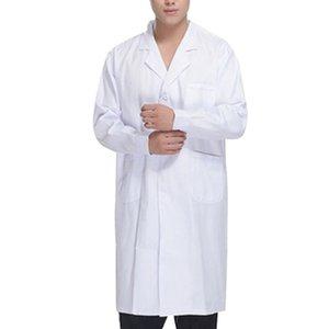 SHUJIN Fashion Solid Jacket Autumn Work Wear Doctors Nurses Clothing Medical Unisex White Lab Coat Long Sleeve Pockets Uniform