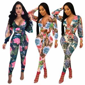 2018 Floral bedruckte Zweiteiler Damen langärmelige Split Freizeithosen Anzüge Sexy Cut Out Top T-Shirt Hosen Bodycon 2 Stück Outfits