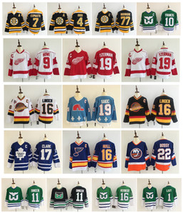 Vintage Wendel Clark Brett Hull Gordie Howe Bobby Orr Joe Sakic Trevor Linden Toronto Maple Leafs Detroit Rote Flügel Retro Hockey Trikots
