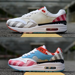 Alta Qualidade Maxes Premium 1 87 Netherland Designer Piet Parra Branco Multi Rainbow Running Shoes 1 s 87 s Homens Mulheres Sneakers Formadores Zapatos