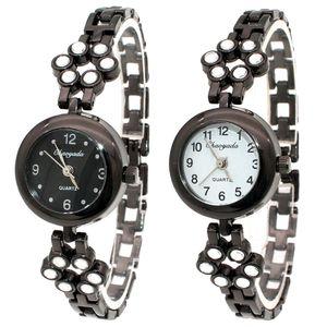 Yeni Chaoyada Siyah Saatler Bayanlar Kuvars İzle Elbise Moda Günlük Kadınlar Saatler Yapay elmas Bilezikler O144