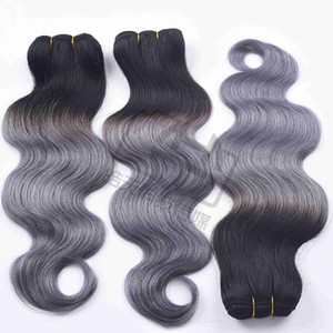 Charmingqueen 1B / Gray Body волна человеческих волос 3/4 Связки Ombre бразильский человеческих волос Weave Серый Ombre Extensions волос