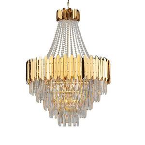 Modern Luxury Atmosphere Crystal Living Room Lampadario American Duplex House Golden Restaurant LED Art Chandelier
