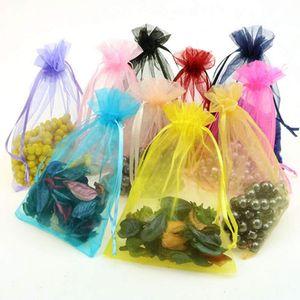 100 шт. Сумки в органзах Свадебные пакеты партии украшения приятный подарок 16 цветов выбора ювелирных изделий упаковочная марлевая сумка