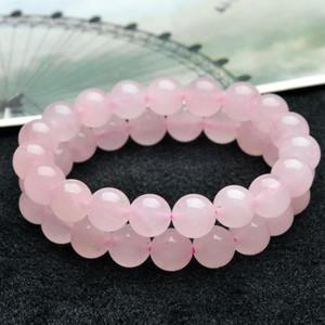 Natürliches Brasilien Rose Quartz Armband-Qualitäts-Rosa-Puder wulstiger Armband-Energie-Healing-Armbänder Schmucksachen für Frauen