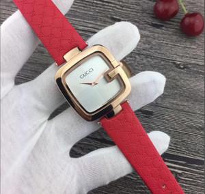 Известный бренд женщин смотреть черный/коричневый/красный кожа Леди наручные часы платье часы квадратный циферблат лицо подарки для девочек бесплатная доставка