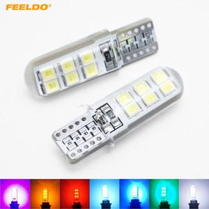 FEELDO 50PCS Car T10 194 168 W5W 2835 Chip 12SMD Silice voiture LED porte Licence Ampoule LED Wedge lumière 7 couleurs # 4464