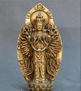 Recueillir la Chine ancienne Bronze Bouddhisme Tibet Mille Mains Guanin Statue de Bouddha