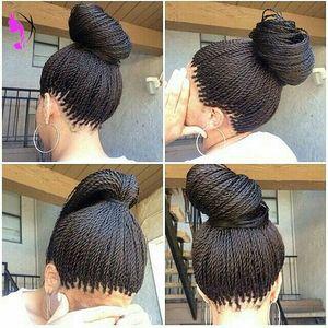 Yüksek kaliteli tam Senegalese 2X Büküm Örgüler Peruk Sentetik Afro Siyah Kadınlar Için Twisted Saç Isıya Dayanıklı Örgü Dantel Ön Peruk