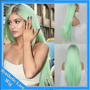 Парики для косплея Ombre Mint Green Long Straight Синтетический парик фронта шнурка Жаростойкий двухцветный черный / светло-зеленый волос для чернокожих женщин