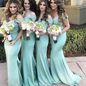 Summer Baby Blue Abiti da damigella d'onore Spalla Appliqued Sirena Maid Of Honor Abiti eleganti Satin Beach Wedding Guest Dresses