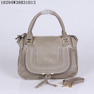 Kadın Deri omuz çantaları yumuşak dana derisi deri 38 cm Orta rahat çanta Işık çok fonksiyonlu çift deri kolları Yuvarlak şekil