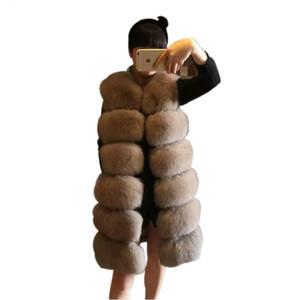 Yeni Lüks Sahte Fox Kürk Yelek Kadınlar Yelek Uzun İnce Sahte Kürk Palto Yüksek Kalite Kürk jile Coats Kadınlar Isınma