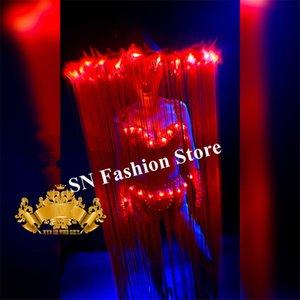 K22 vermelho longo tassle headwear dança de salão conduziu trajes cantor luminosa bodysuit stage usa dj bikini jellyfish dress cosplay natal ds