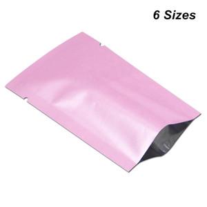 6 Tamaños disponibles 100 unids / lote Pink Open Top Mylar Heat Seal Vacío Food Grade Storage Packing Pouch Papel de aluminio Heat Sealing Bolsas de embalaje