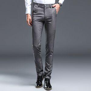 High Quality Formal Dress Pants Men Plaid Straight Trousers Male Classic Business Casual Pants Thin Korean Slim Skinny