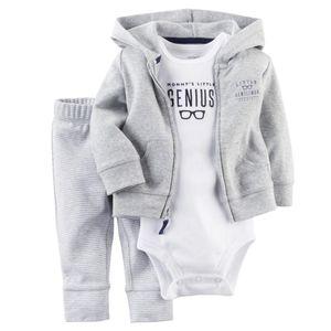 2017 Последние Случайные Новорожденный 6 9 12 18 Месяцев Кардиган Брюки Набор Baby Boy Одежда Наряд Серый Боди Baby Boy Одежда