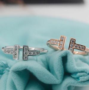 المجوهرات S925 الخواتم الفضة الاسترليني بالنسبة للنساء الماس مفتوحة حلقات ارتفع إلكتروني T أسلوب الزفاف خاتم من الذهب