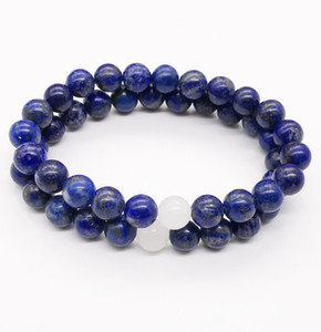 8 milímetros Lapis Lazuli Pulseira, Gemstone Bracelet, jade branco Beads, pulseira elástica, Boa Sorte Bracelet