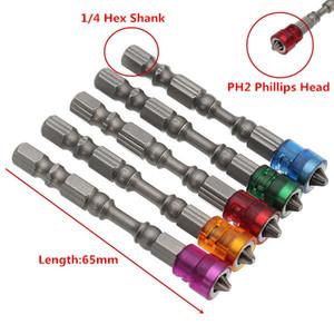 5 Stücke 65mm S2 Legierung PH2 Phillips Magnetische Schraubendrehereinsätze 1/4 Zoll Sechskantschaft Trockenbauschrauber
