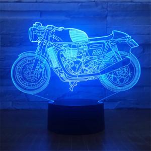 Alta Qualidade Frete Grátis DC 5 V USB Alimentado AA Bateria Padrão Da Motocicleta 3D Ilusão de Óptica Lâmpada 3D LED Night Light 3D lâmpada