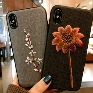 2018 جديد وصول الإبداعية 3d التطريز الهاتف حالة تغطية لطيف زهرة العشب الحيوان نمط حالة الهاتف ل فون x 8 7 6