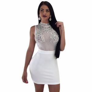 S-XXL 3 ألوان فساتين الصيف ارتفاع الخصر شبكة الماس الإناث سيدة نساء أزياء مثير ضمادة عارضة ملهى ليلي البسيطة اللباس
