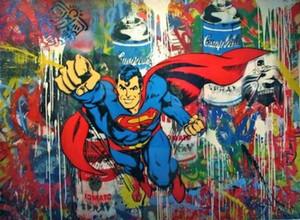 Mr Brainwash pintado a mano de alta calidad / impresión en HD graffiti arte pintura al óleo Superman aerosol sobre lienzo Home Deco Multi tamaños g292