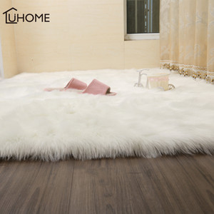 Peloso Tappeti di pelle di pecora Plain cuoio pellicce Fluffy Camera Faux Mats lavabile artificiale tessile Square Area Rugs Home Decor