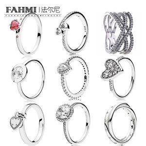 Fahmi 100% 925 Sterling Silver Jewelry Glitter Teardrop Anello zircone elegante Everlasting Love semplice anello geometrico Zircon