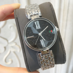 2018 Марка Новая модель Мода женские часы наручные часы известных популярных ретро леди Роскошные часы Горячие продаж нержавеющей стали моды звезда сверкающих