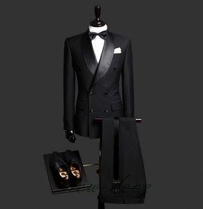 Nach Maß Qualität Customized Schwarz Zweireihig Geschäft Herren Anzüge Design Männliche Anzüge benutzerdefinierten Anzug (Jacket + Pants)