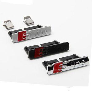 3D Metal S Line Sline Sticker Car Anteriore Grille Adesivo Emblem Badge Accessori Styling Per Audi A1 A3 A4 B8 B5 A5 A6