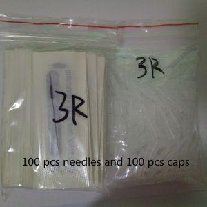 100Pcs 3R 바늘 및 영구 화장을위한 100pcs 3R 팁 좋은 품질 전통 문신 바늘 독립 포장