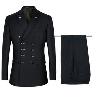 2018 black Double Breasted Suits Mens Wedding Suits Purple sets 2 pcs Men Terno Costume Homme Mariage Slim Fit