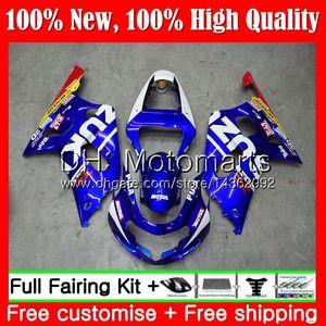 Cuerpo para SUZUKI GSX-R600 GSXR 750 K1 GSXR750 01 02 03 23MT11 GSXR 600 01 03 Nuevo azul rojo GSX-R750 GSXR600 2001 2002 2003 Carrocería carenado