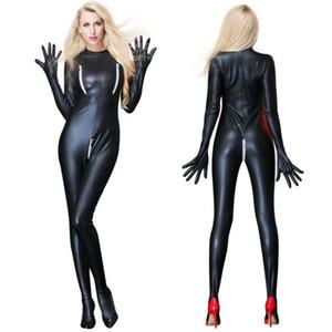 Сексуальное женское белье черный ПВХ искусственной кожи спандекс винил боди комбинезон Комбинезон комбинезон фетиш партии носить