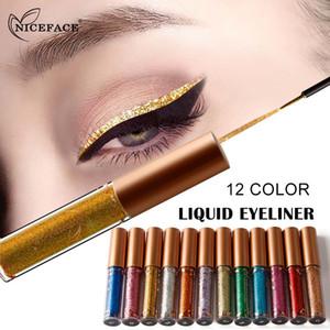 NICEFACE Eyeliner Glitter Eye Makeup Larga duración impermeable Liquid Eye Liner Shimmer Pigmento Fast Dry Cat Eye Line Pen