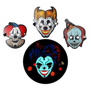 1 pieza Cosplay Full Face Glowing Masks Light Halloween Mardi Gras Máscaras LED Suave Fiesta de Carnaval Festival Suministros Máscaras