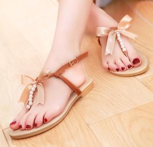 2018 chaussures de mode d'été arc perles sandales étudiant doux arc plat tong occasionnels sandales femmes mode tendon chaussures