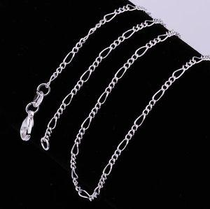 "2018 Hot Sales Fine 925 Sterling Silver Necklace 2mm 16-30 ""Clássico Chain Chain Link Itália Homem Homem Colar 15 pcs / lote"