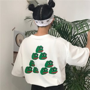 YouGeMan 2018 Verano Camiseta Para Mujer Ropa Coreano Ulzzang Harajuku Estampado Parodia Rana Camisetas de manga corta Mujer Camiseta divertida