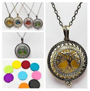 "Tree of life Aromatherapy Essential Oil Diffuser Necklace Locket Pendant 316L Stainless Steel Jewelry with 24"" Chain"